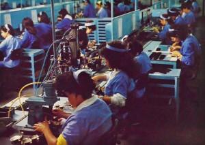 Linha de produção da National/ Panasonic Componentes Eletrônicos do Brasil, 1983 - onde hoje fica o Espaço Cassiano Ricardo.